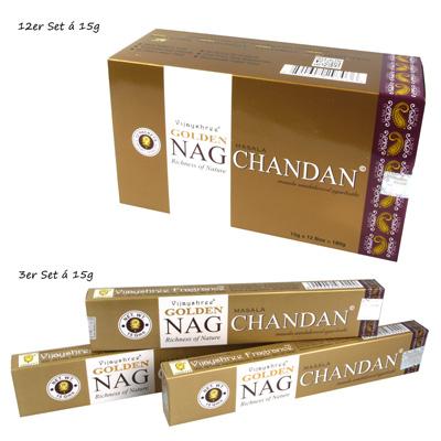 3er Set Räucherstäbchen Golden Nag Chandan