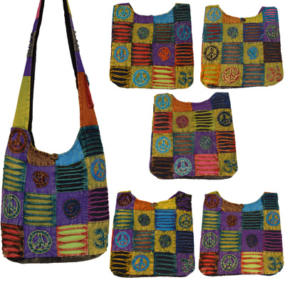 patchwork taschen india bag schultertasche ethno hippie peace om elefant indien ebay. Black Bedroom Furniture Sets. Home Design Ideas