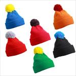 Wunderschöne Wintermütze Strickmütze mit Umschlag und Bommel in verschiedenen Fa